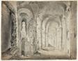 Large Ruined Portico or Corridor (recto); Sketches of a Draped Figure and Architecture (verso)