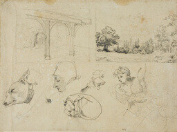 Sketches of A Shed, A Landscape, Dogs and Various Figures