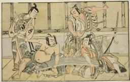 The Actors Ichikawa Yaozo II as Kujaku no Saburo, Matsumoto Koshiro II as Hata no Daizen Taketora, Nakajima Mihoemon II as Aramaki Mimishiro, and Nakamura Shocho I as Ki no Tsurayuki (right to left), in the Play Kuni no Hana Ono no Itsumoji, Performed at the Nakamura Theater in the Eleventh Month, 1771