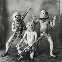 Three Asaro Mud Men, New Guinea