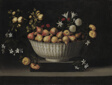 Flowers and Fruit in a China Bowl