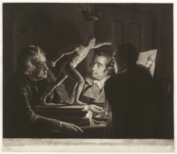 Three Persons Viewing the Gladiator by Candlelight