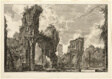 Ruins of the Xystus [a long open portico used for athletic exercises], the central hall of the Antonine Baths [The Baths of Caracalla], from Views of Rome