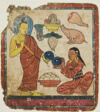 Lady Offering Food to a Monk, From a Set of Initiation Cards (Tsakali)