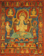 Painted Banner (Thangka) of Bodhisattva Maitreya Surrounded by his Retinue