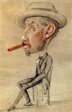 Caricature of a Man with a Big Cigar