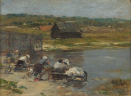 Washerwomen at the Edge of the Pond