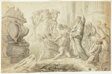 Raising of Lazarus (recto); Travelers with Cart Outside Inn (verso)