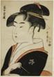"Tomimoto Toyohina, from the series ""Famous Beauties of Edo (Edo komei bijin)"""