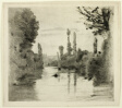 River Scene with Boat (Large plate)