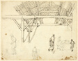 Rejected Study, possibly for an illustration of the Custom House, from Microcosm of London (recto); Sketches of Workers with Barrels (verso)