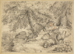 Shepherd Boy with Lambs in Woods