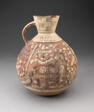 Handeled Jar with Painted Relief Depicting Figure with Animals