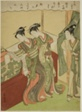 Young Man Walks in as Two Courtesans Read Love Letter