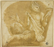 Seated Faun Holding Cornucopia (recto); Sketch of Tree and House (verso)