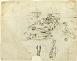 Sketches of Reclining Female Nude and Amorous Couple