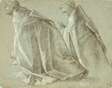 Study of Two Kneeling Clerics (recto); Study of Standing Youth (verso)