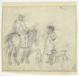 Man with Dogs and Another on Horseback