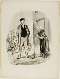 """""""- How are you feeling today, Mr. Chapolard? - Madame Pochet, a concierge who knows how to behave, should address her landlord only in the third person. - How can I talk to you in the third person, since you are the first person I am seeing this morning,"""" plate 11 from Croquis Parisiens"""