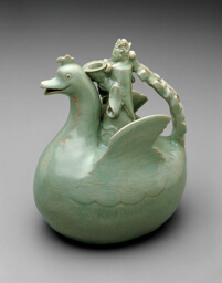 Bird Shaped Ewer with Crowned Rider Holding a Bowl