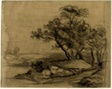 River Bank with Trees (recto); Herd of Cattle Beneath Trees, with Inset Sketch of Landscape (verso)