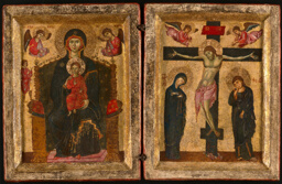 Diptych of the Virgin and Child Enthroned and the Crucifixion