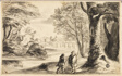 Two Travelers under Tree with Village and Bridge in Distance
