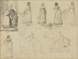 Nine Sketches of a Young Woman in Fashionable Dress