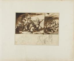 Three Sketches of an Equestrian Battle and a Sketch of Two
