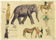 Sheet of Sketches: Elephant, Horses and Costumes