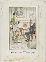 """""""'The unwelcome hints of Mr. Shepherd, his Agent,' Chapter I"""" frontispiece for Jane Austen's Persuasion"""