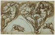 Study for Spandrel Decoration with Satyress, Satyrs, and Putti (recto); Head of Putto (verso)