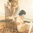 Man and Female Nude Leaning on a Chair