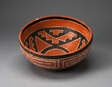 Polychrome Bowl with Geometric Star Motif on Interior and Interloking Scroll on Exterio