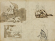 Sketches of a Cavalry Battle, A Landscape with Cows, and Other Compositions