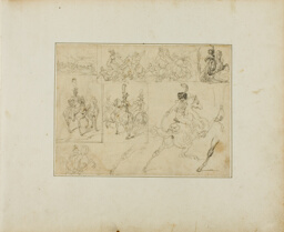 Sheet of Sketches: Cavalry Battles and Mounted Soldiers