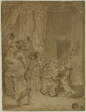 The Infant Hercules Strangling Serpents in His Cradle (recto); Crowned Woman Kneeling in Landscape, and Other Sketches (verso)