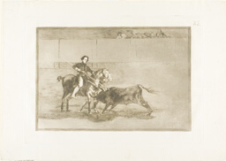 Manly courage of the celebrated Pajuelera in the ring at Saragossa, plate 22 from The Art of Bullfighting