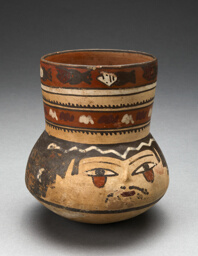 Beaker Depicting Human Head and Rows of Geometric Motifs