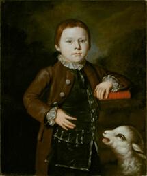 Boy of Hallett Family with Lamb