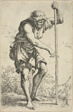 An Old, Ragged Man with a Staff and a Ground at his Hip, from Figurina