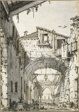 Capriccio: A Street Crossed by Arches (recto) Sketches of Doorway, Staircase and Second Floor of Building(verso)