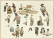 Sketches of Fishermen and Children at Hastings