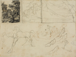 Sheet of Sketches: three Landscapes, Horses, and Hooves