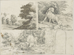 Sketches of a Wooded Site, Dogs and Pheasants in Landscape