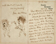 Letter with Drawing of Whistler Menacing Du Maurier