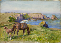 Mare and Foal Grazing by the Sea