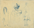 Three Sketches: Woman with Hair Down, Woman with Hat, Woman Half-Dressed
