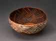 Bowl with Black Interlocking Lattice on Interior, and White Interlocking Squared Spirals on Exterios