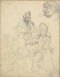 Study of Figure Group, with Detail of Grenadier's Head